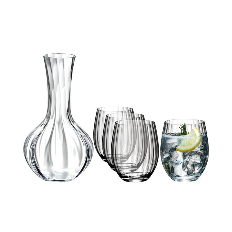 Riedel Tumbler Collection Optical O Longdrink Glass and Decanter 5 Piece Set