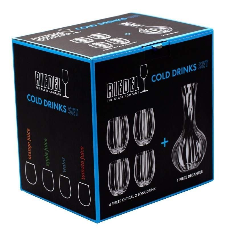 Riedel Tumbler Collection Optical O Longdrink Glass and Decanter Set 5 Piece