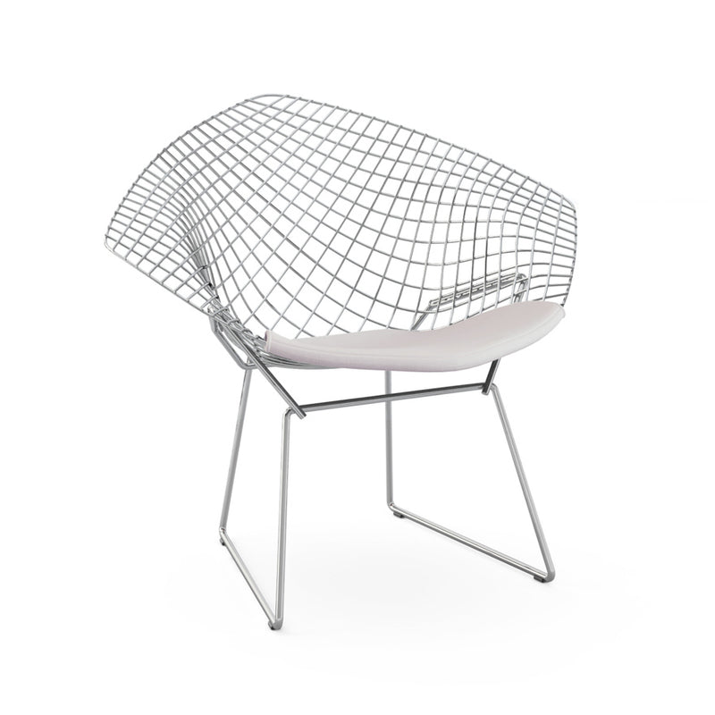 Set of 2 Replica Bertoia Diamond Chair Chrome with White Cushion