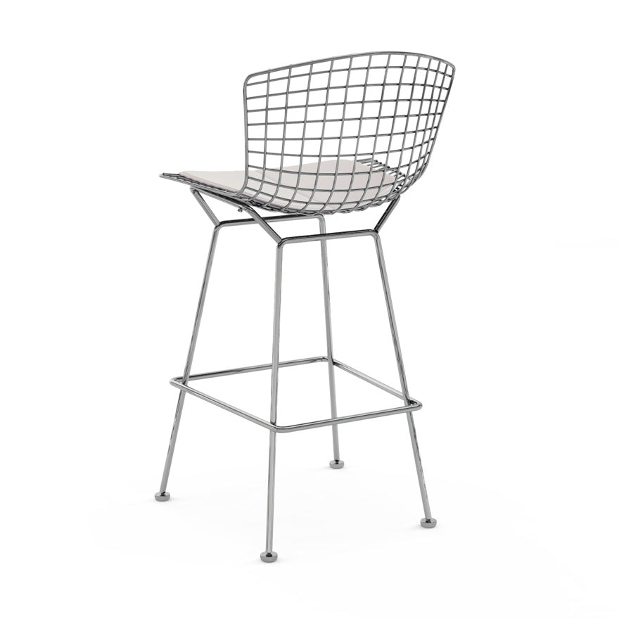 Set of 2 Replica Bertoia Barstool 65CM Chrome with White Cushion
