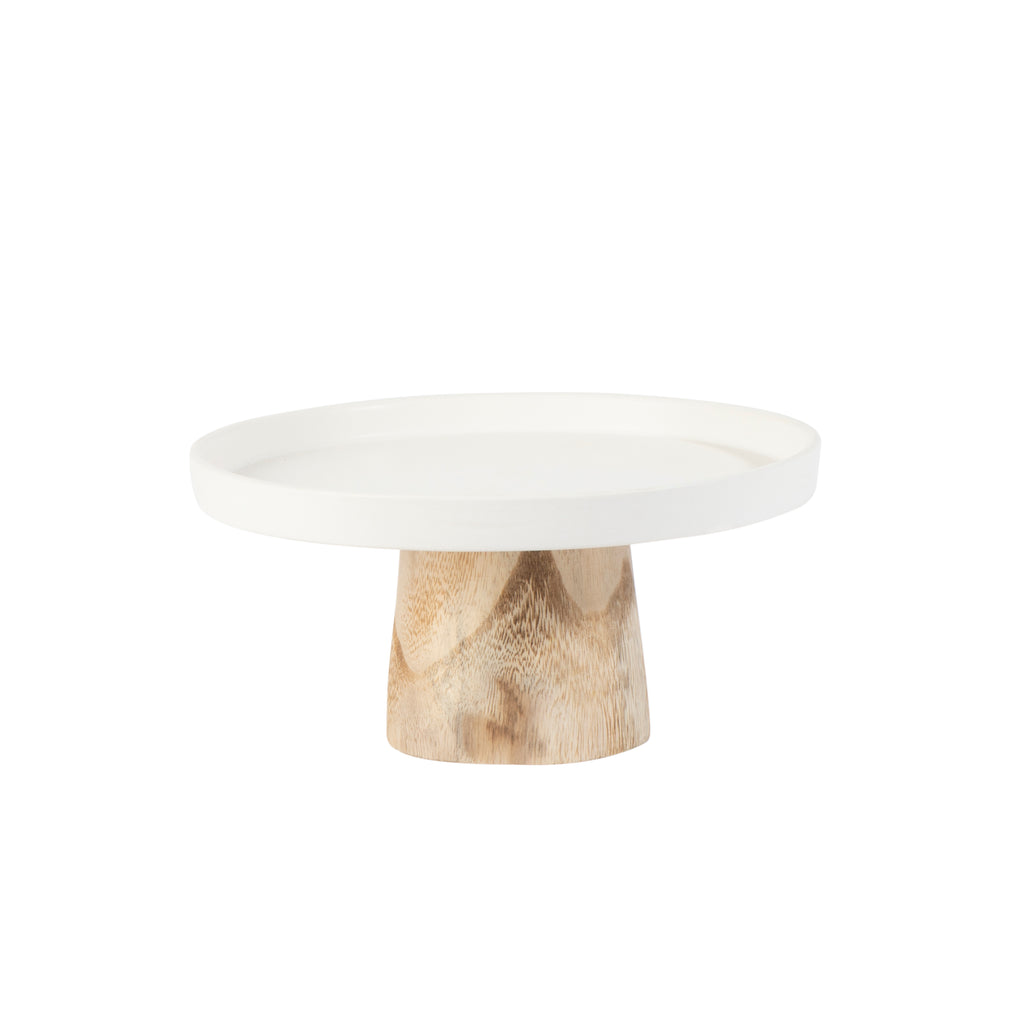 Valise York Cake Stand 22cm Pure White with Birch Base