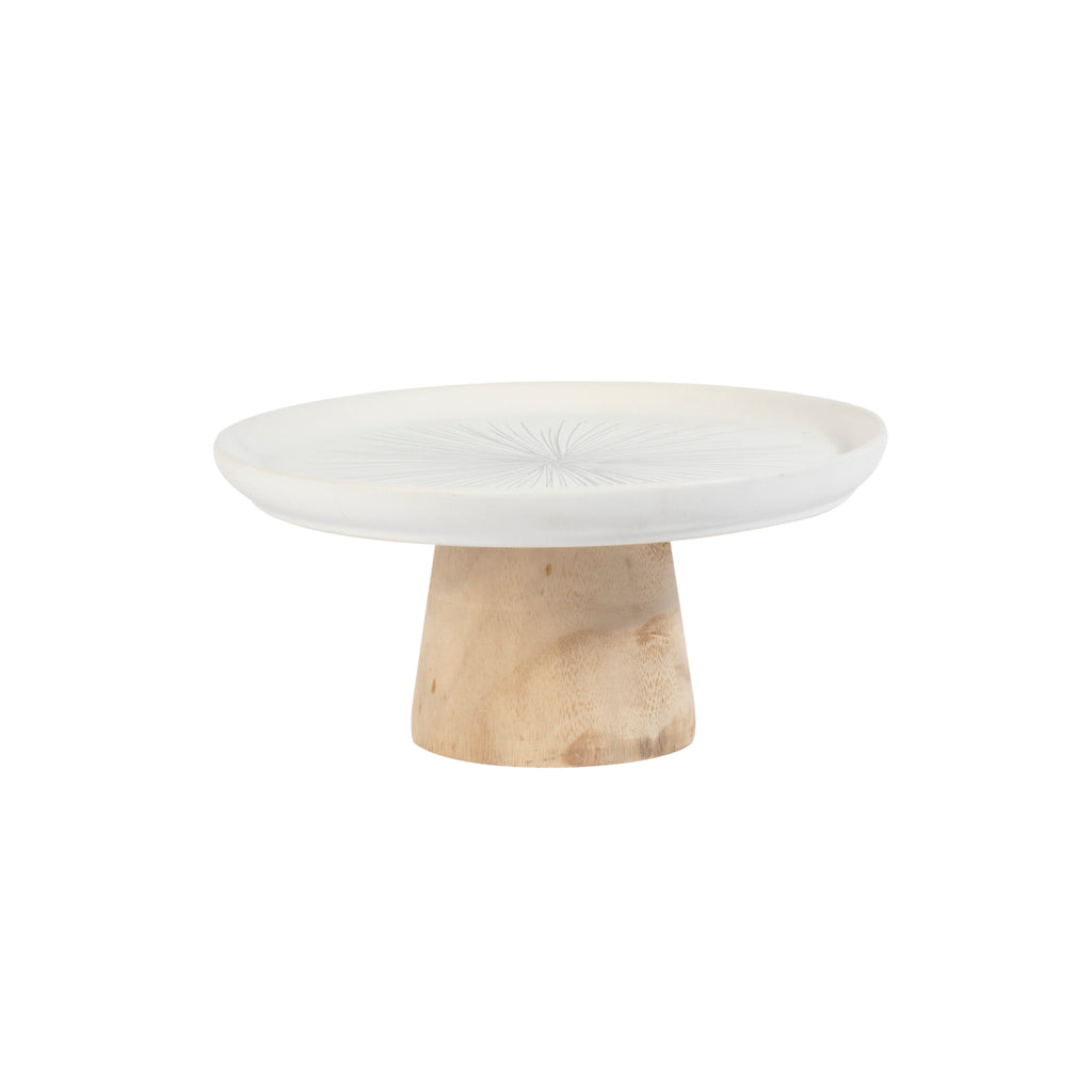 Valise York Cake Stand 22cm Slate Grey with Birch Base