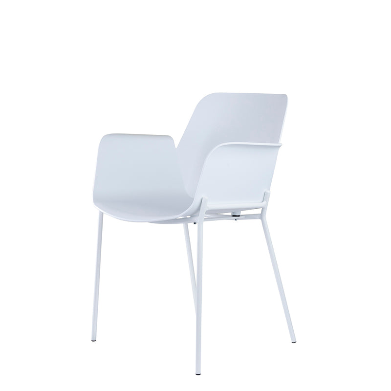Set of 2 Valise Brooklyn Arm Chair in Alabaster White with Matte White Legs