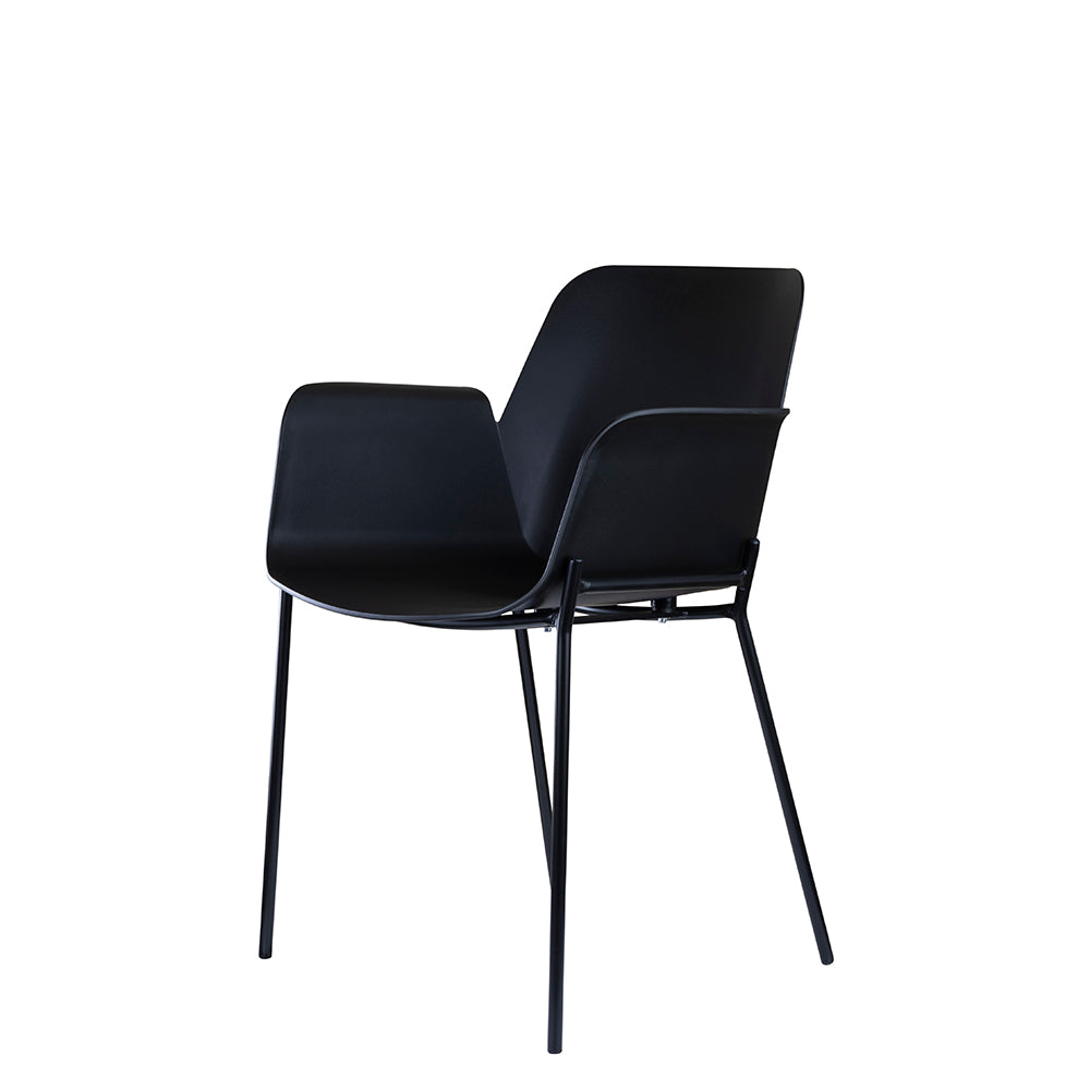 Set of 2 Valise Brooklyn Arm Chair in Obsidian Black with Matte Black Legs