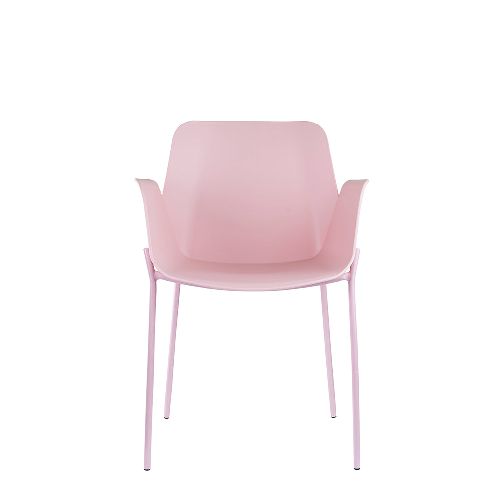 Set of 2 Valise Brooklyn Arm Chair in Pink Lemonade with Matte Pink Legs