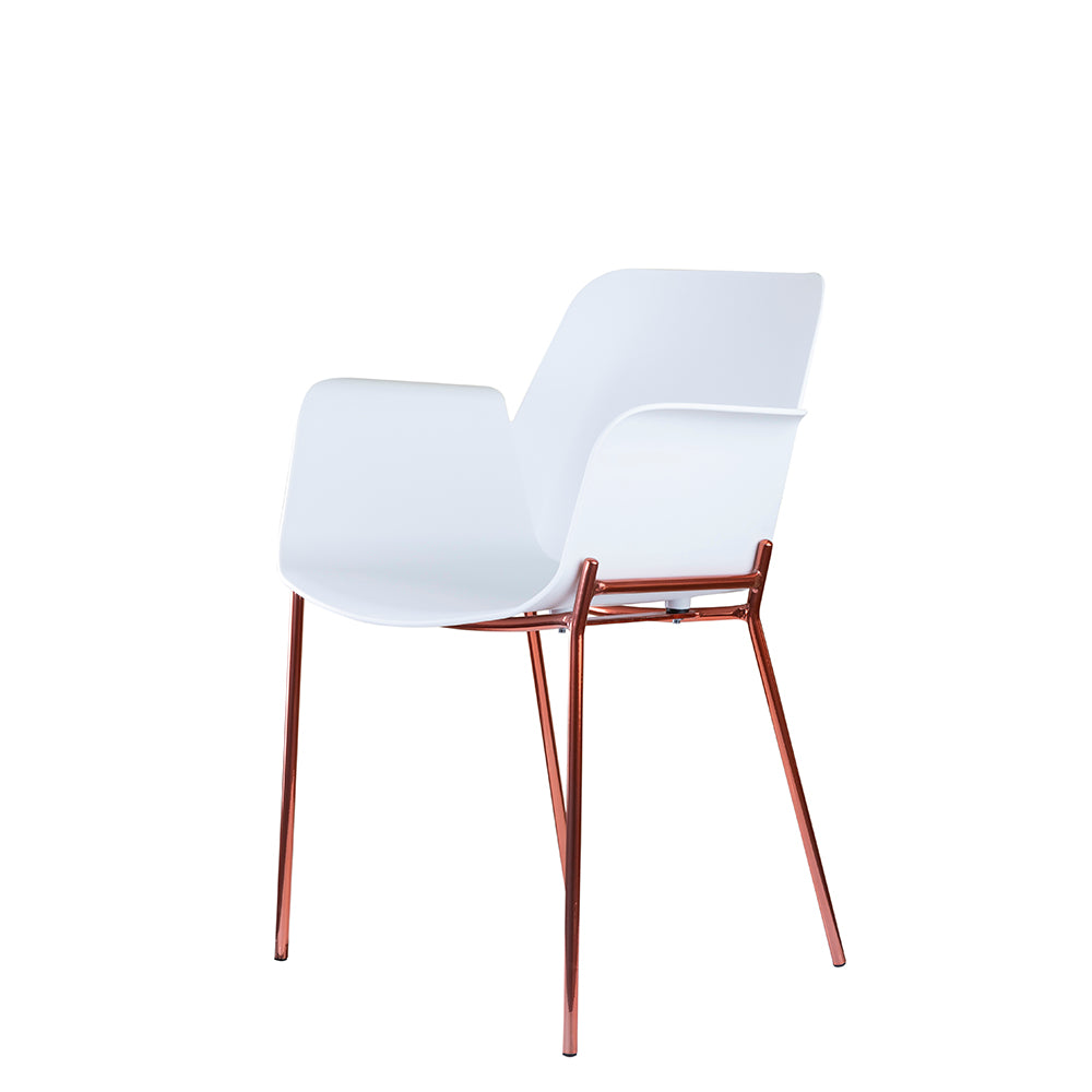 Set of 2 Valise Brooklyn Arm Chair in Alabaster White with Rose Gold Legs