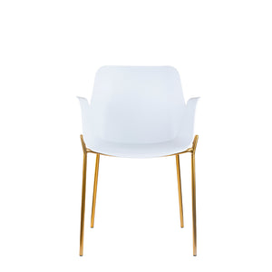 Set of 2 Valise Brooklyn Arm Chair in Alabaster White with Royal Gold Legs