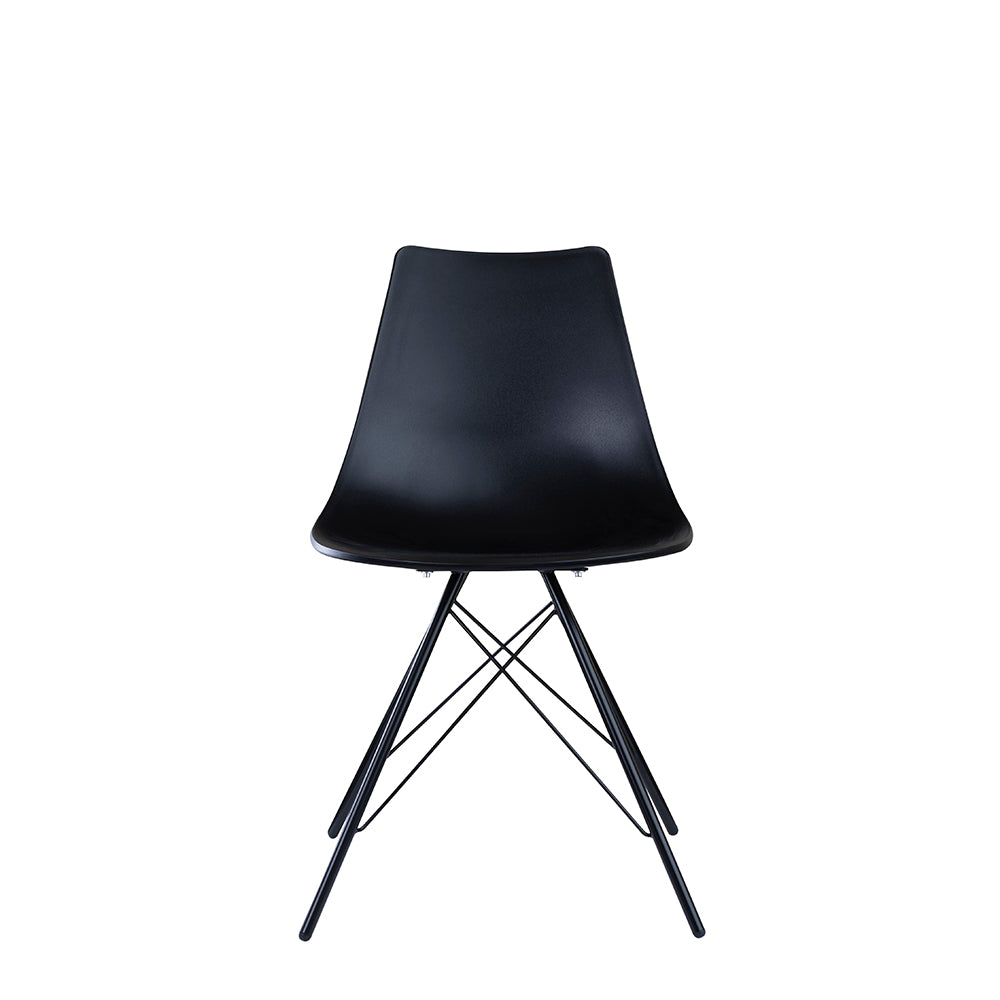 Set of 2 Valise Brooklyn Side Chair in Obsidian Black with Matte Black Legs
