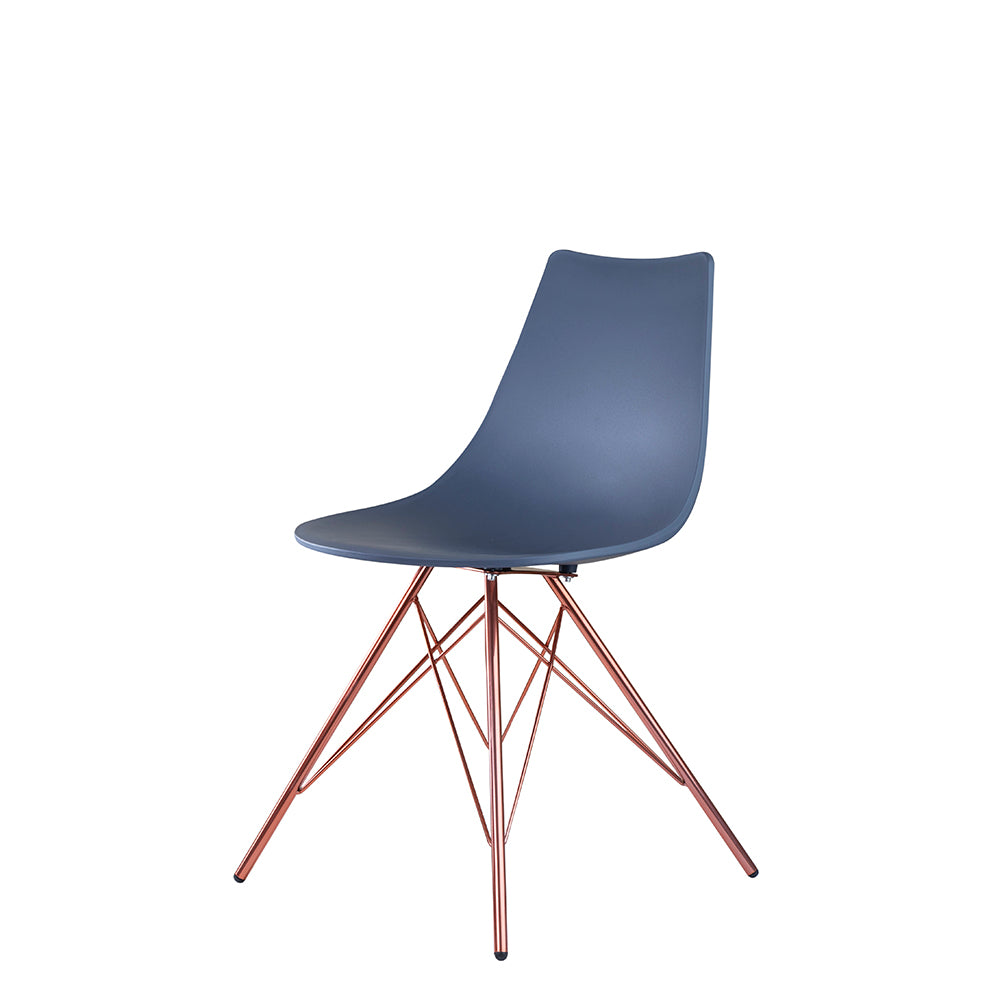 Set of 2 Valise Brooklyn Side Chair in Steel Grey with Rose Gold Legs