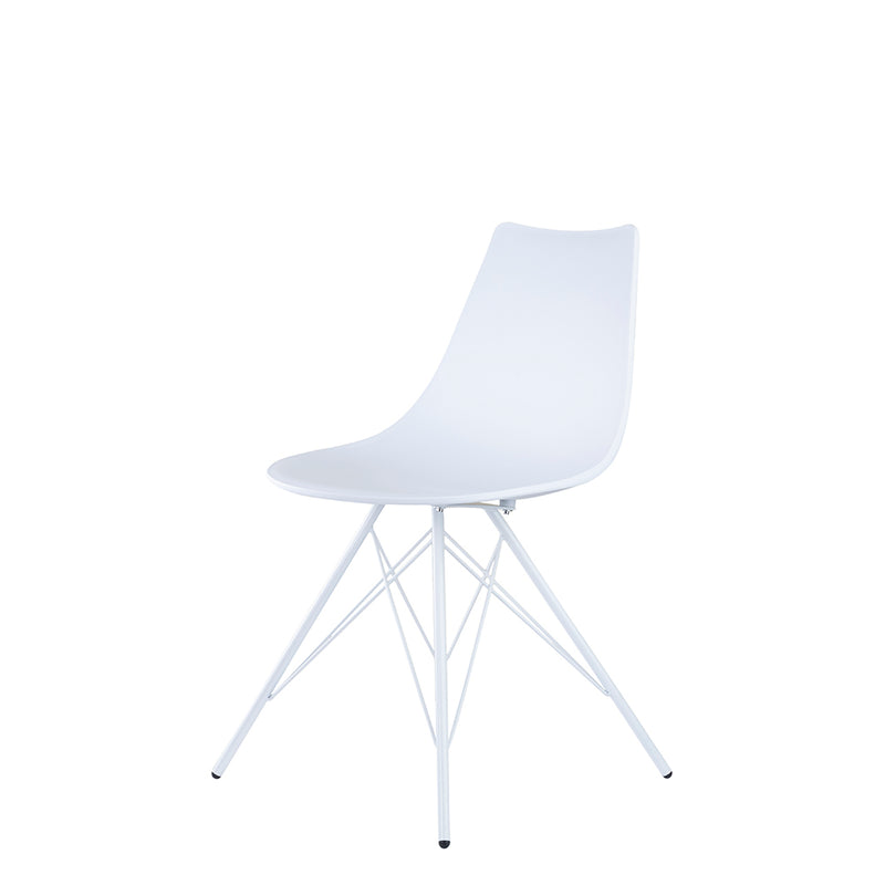Set of 2 Valise Brooklyn Side Chair in Alabaster White with Matte White Legs