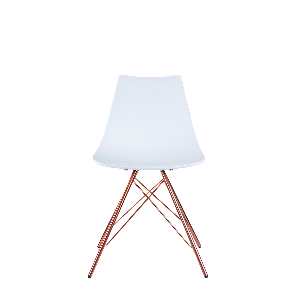 Set of 2 Valise Brooklyn Side Chair in Alabaster White with Rose Gold Legs