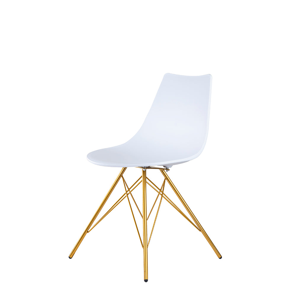 Set of 2 Valise Brooklyn Side Chair in Alabaster White with Royal Gold Legs
