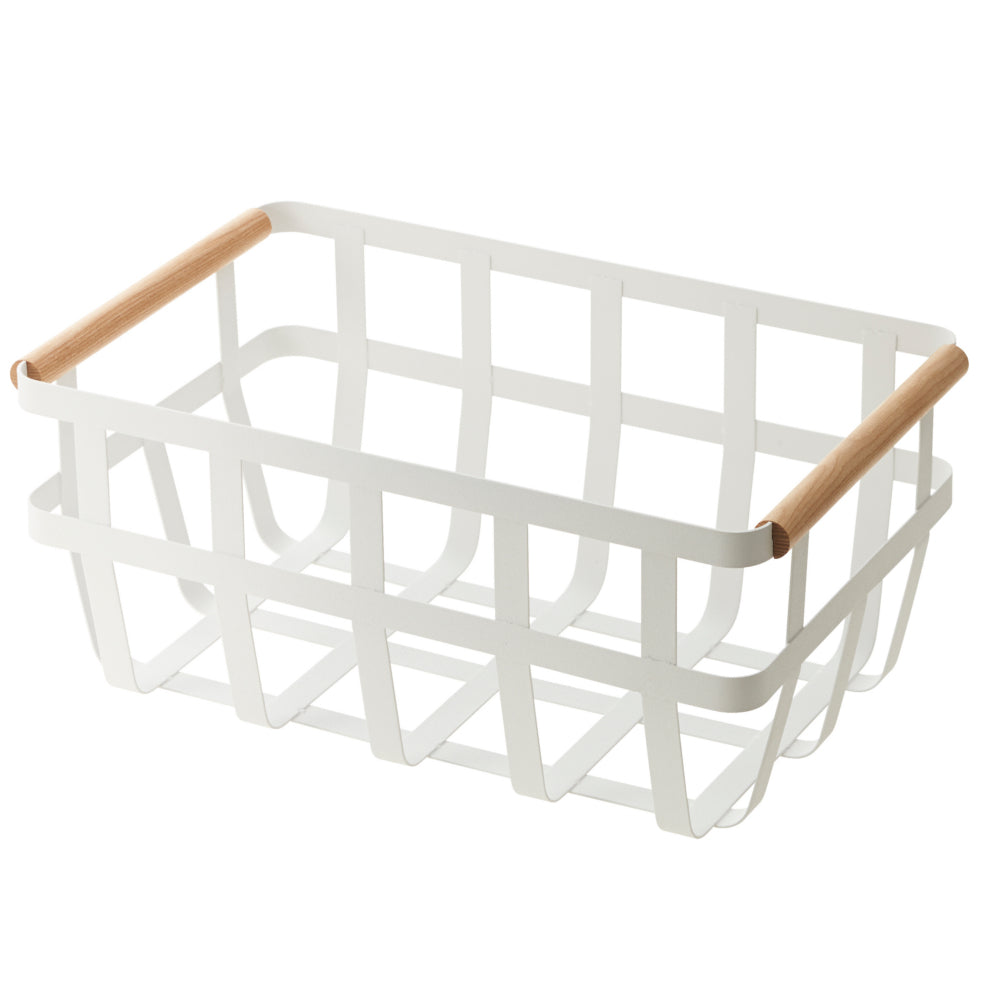 Yamazaki Tosca Storage Basket Double Handle White