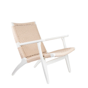 Replica Hans Wegner Easy Chair in Ivory White