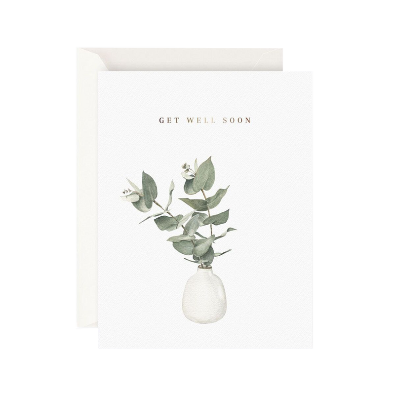 Father Rabbit Stationery Card Eucalyptus Get Well Soon