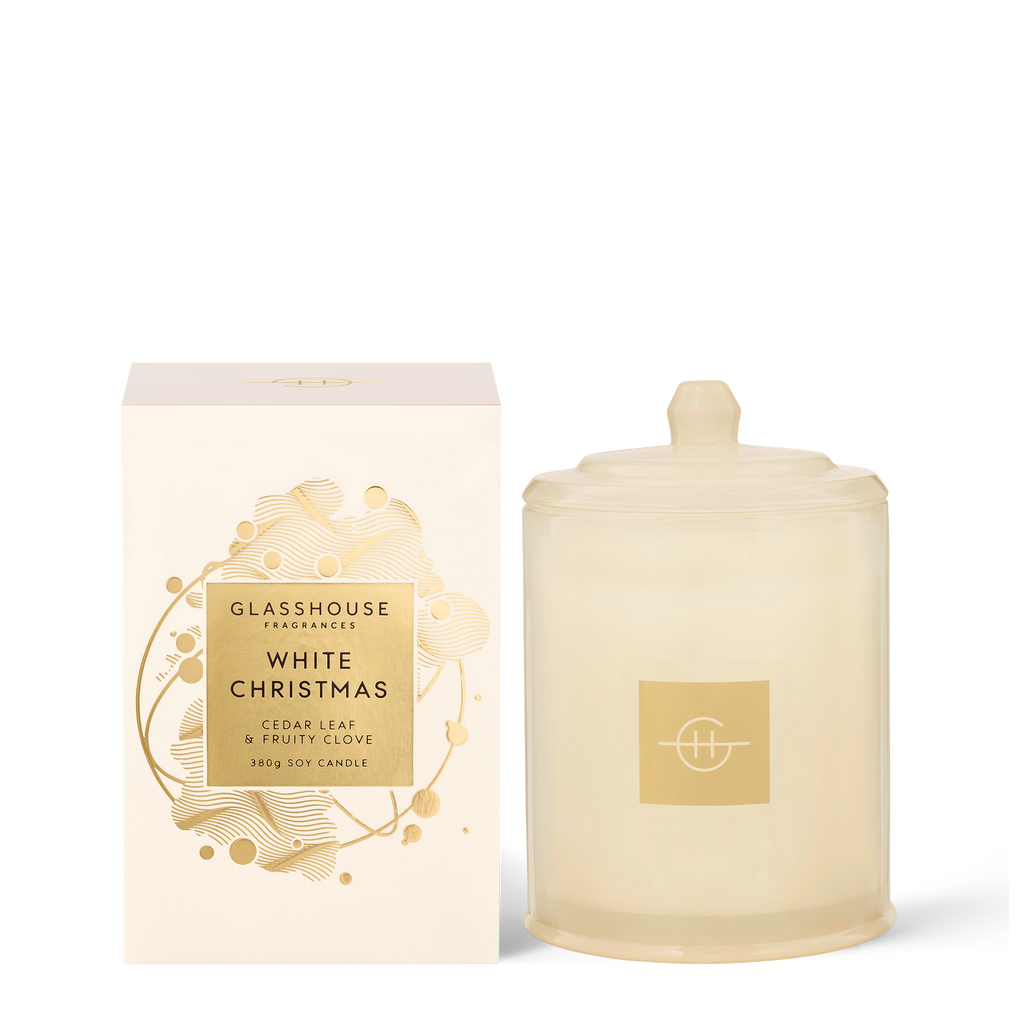 Glasshouse Fragrances 380g White Christmas Candle