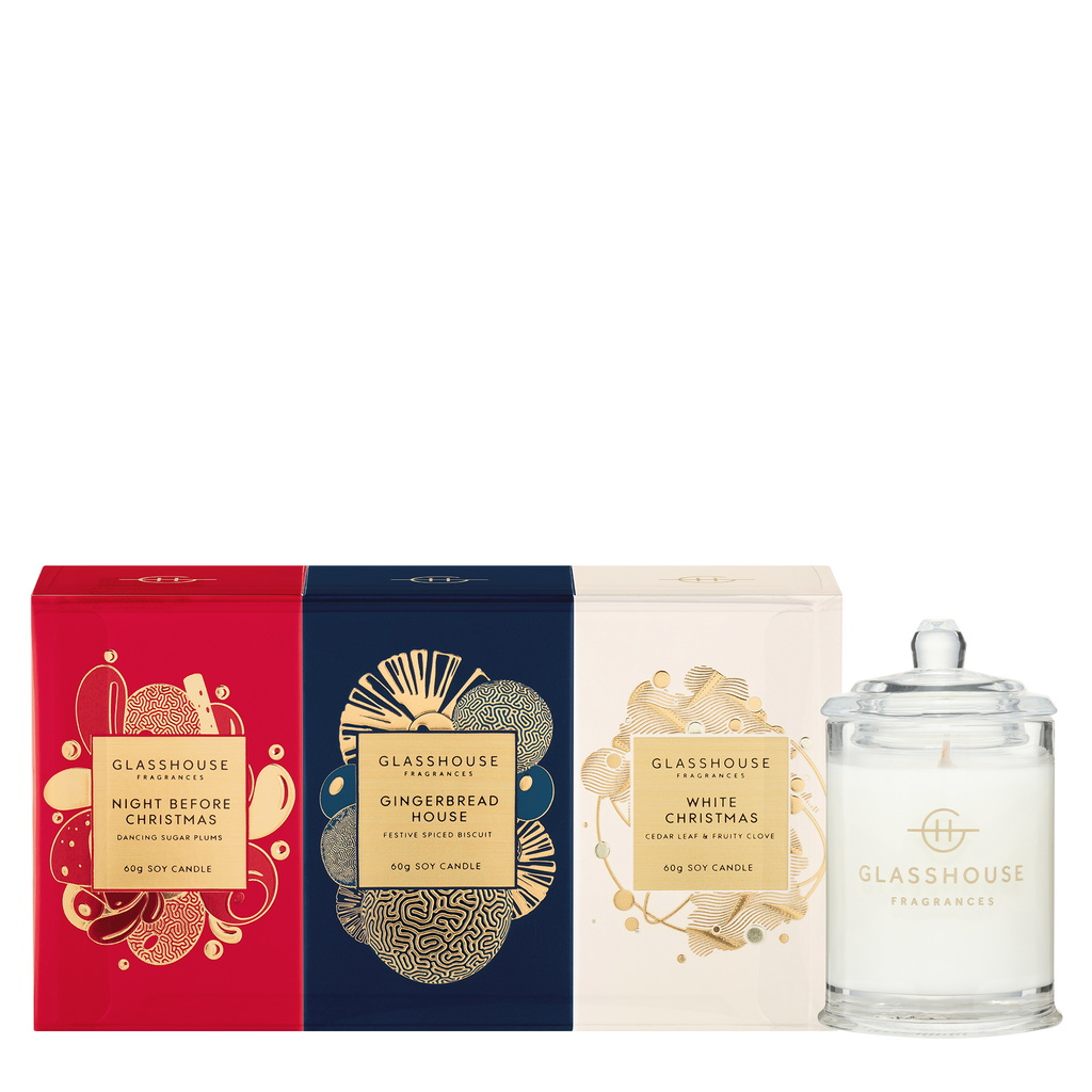 Glasshouse Fragrances Christmas Mini Candle Trio