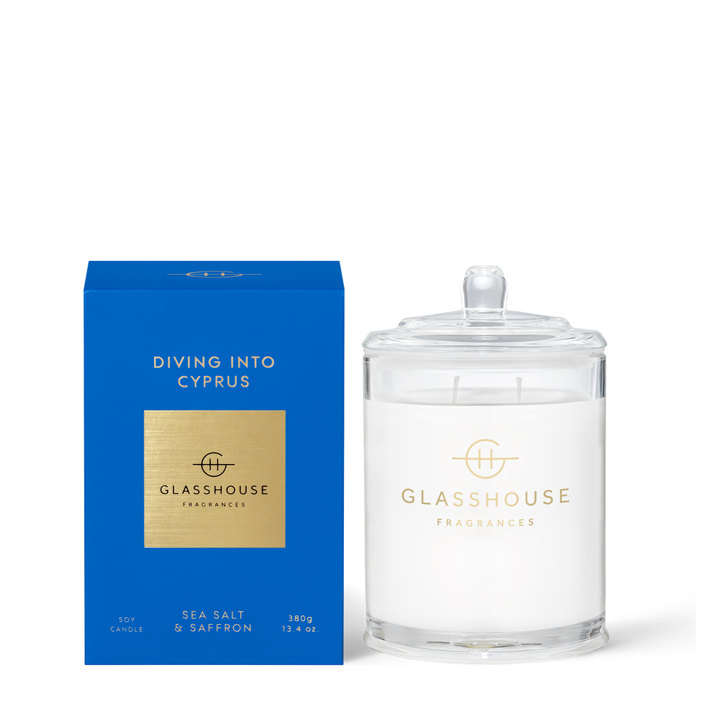 Glasshouse Fragrances 380g Diving into Cyprus Candle