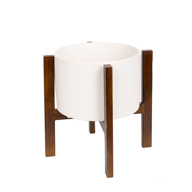 Valise California Pot 25cm Pure White with Walnut Base