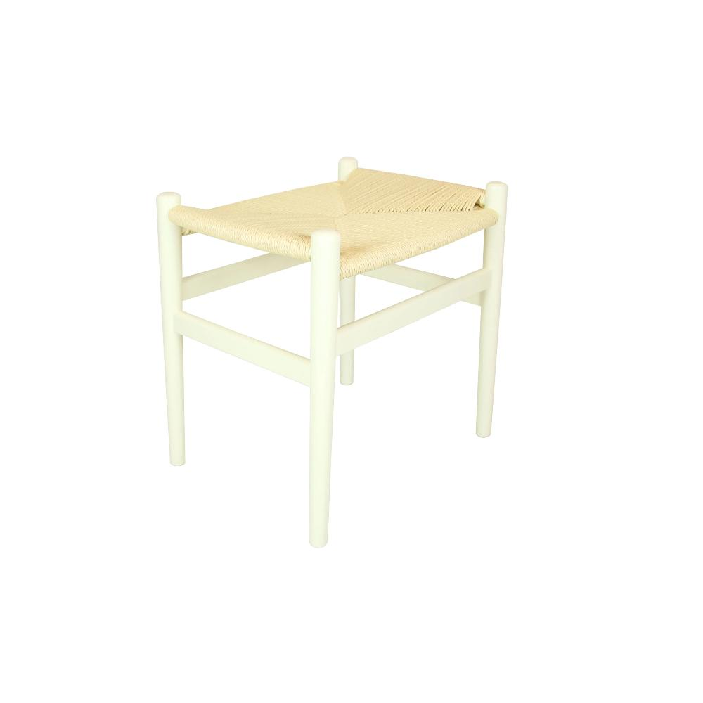 Set of 2 Replica Hans Wegner Wishbone Footstool Ivory
