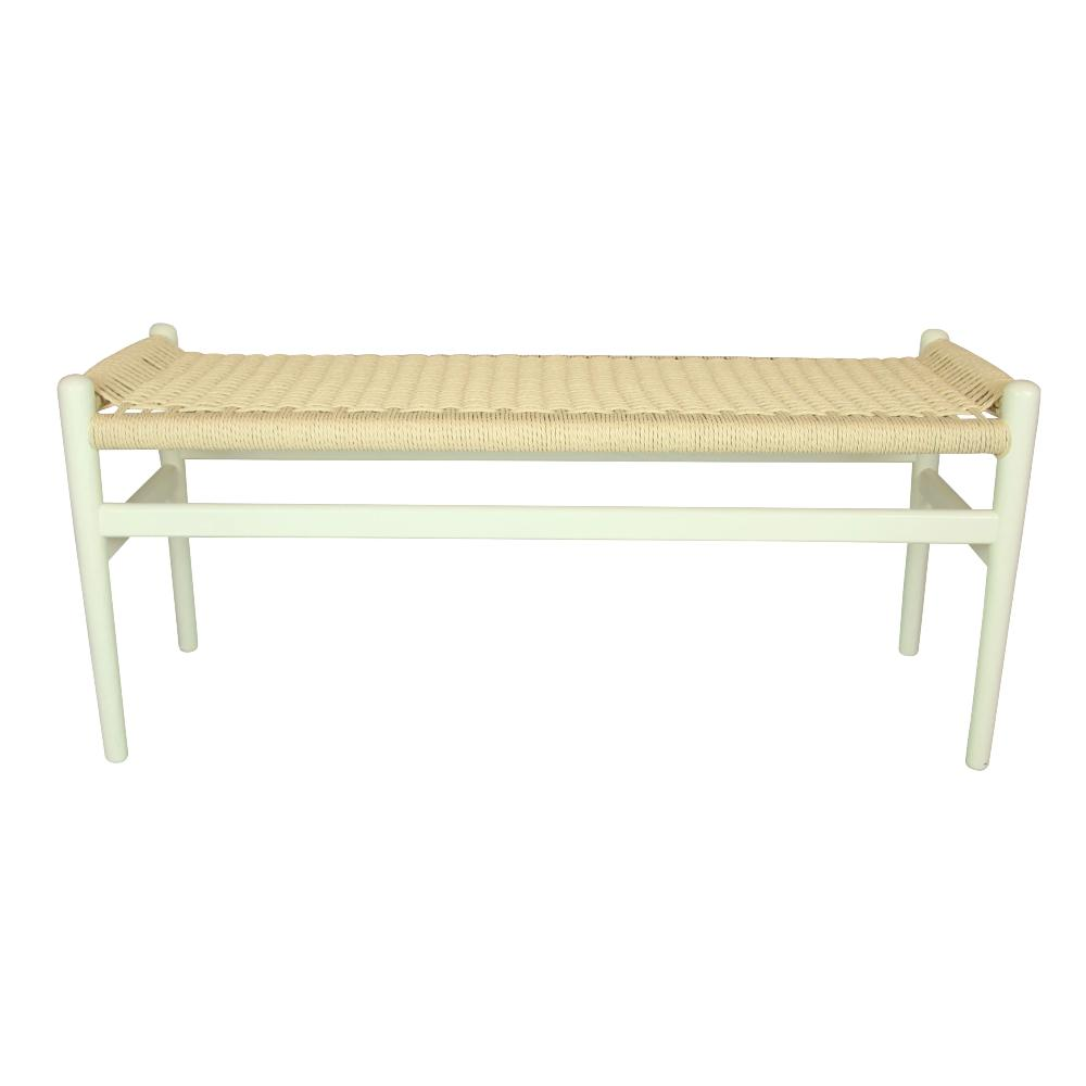 Replica Hans Wegner Wishbone Bench Ivory
