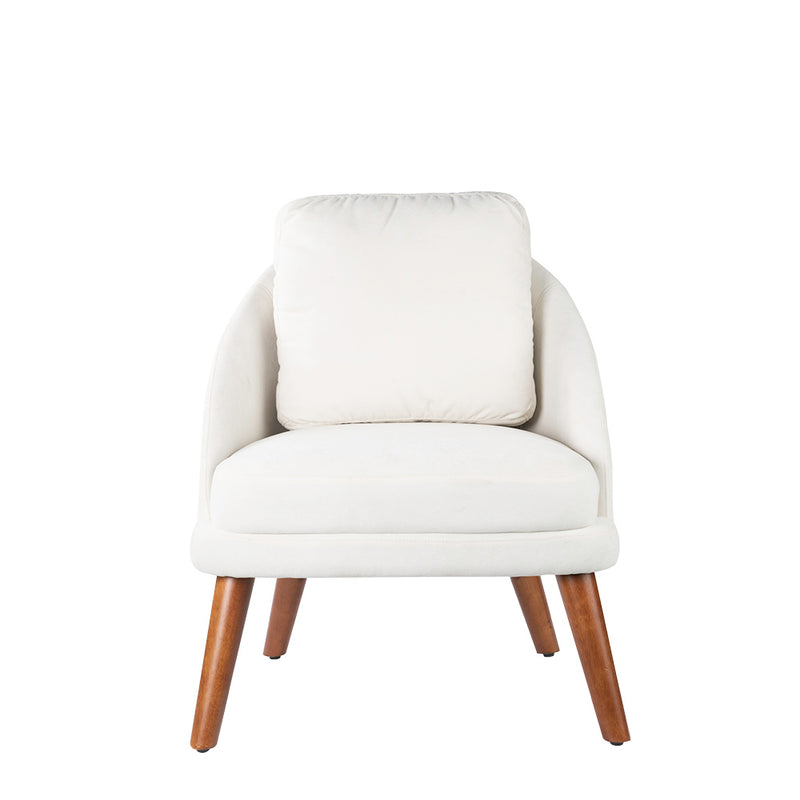 Valise Manhattan Armchair in Pearl White Fabric with English Walnut Legs
