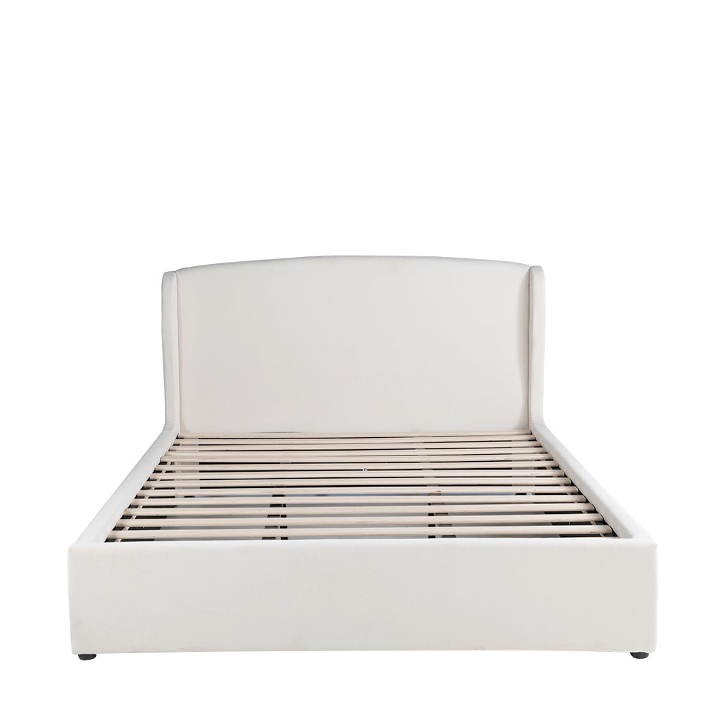 Valise Manhattan Queen Bed Frame in Pearl White Fabric