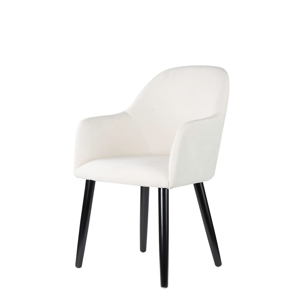 Valise Manhattan Chair in Pearl White Fabric and Piano Black Legs