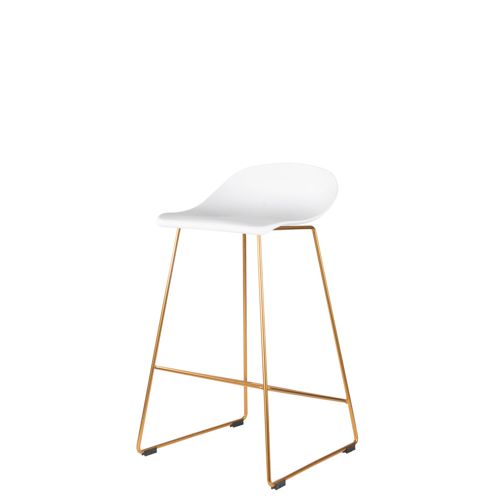 Set of 2 Valise London Stool 65cm in Alabaster White with Royal Gold Leg