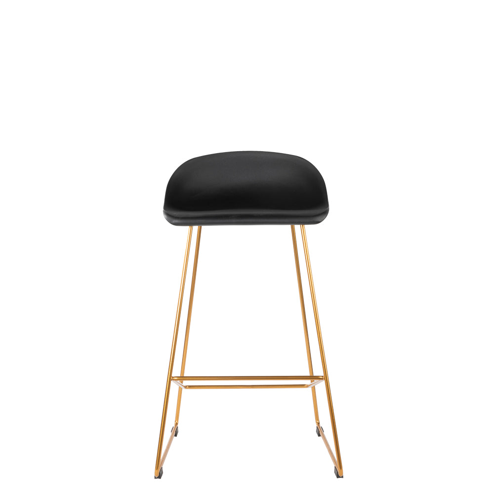 Set of 2 Valise London Stool 65cm in Obsidian Black with Royal Gold Leg