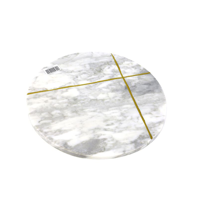 Valise Carrara Cheese Board 31cm White Marble with Gold Inlay