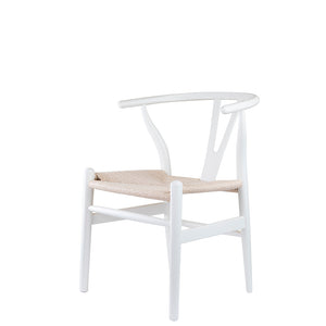 Set of 2 Replica Hans Wegner Wishbone Chair in Ivory White