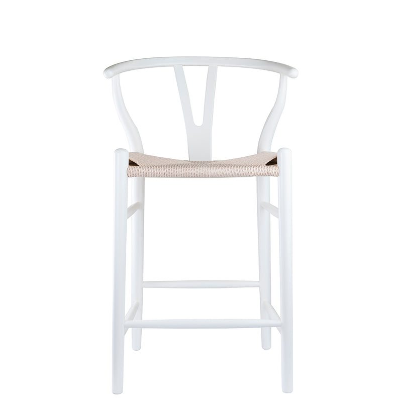 Replica Hans Wegner Wishbone Stool in Ivory White