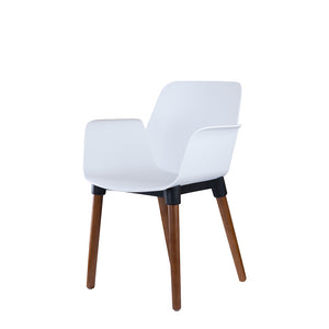 Set of 2 Valise York Arm Chair in Alabaster White with English Walnut Legs