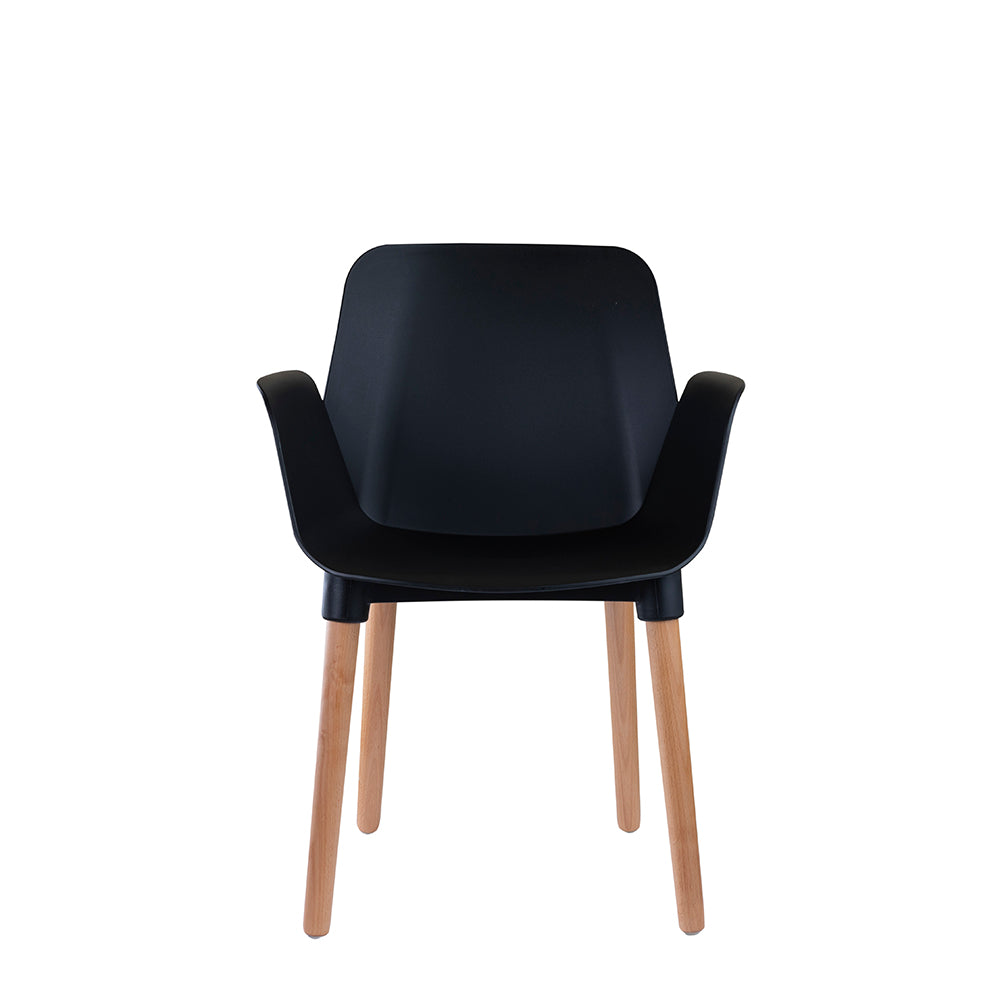 Set of 2 Valise York Arm Chair in Obsidian Black with Natural Ash Legs