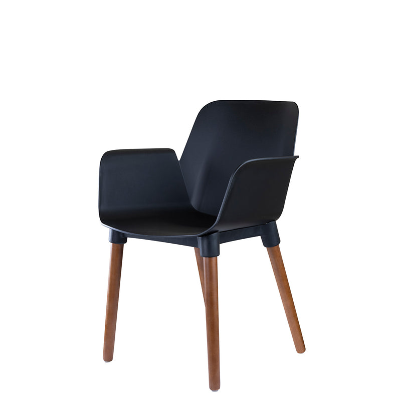 Set of 2 Valise York Arm Chair in Obsidian Black with English Walnut Legs