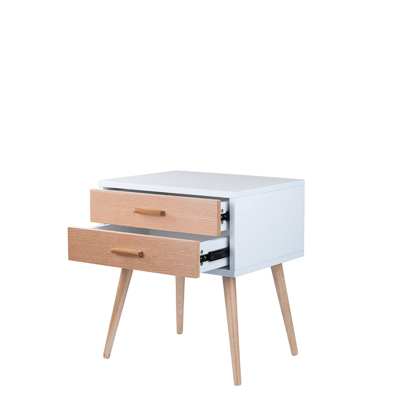 Valise York Bedside Table in Alabaster White and Natural Ash
