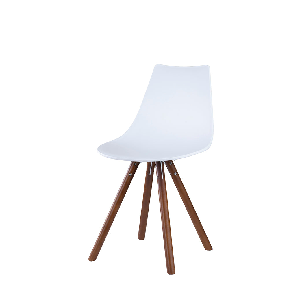 Set of 2 Valise York Side Chair in Alabaster White with English Walnut Legs
