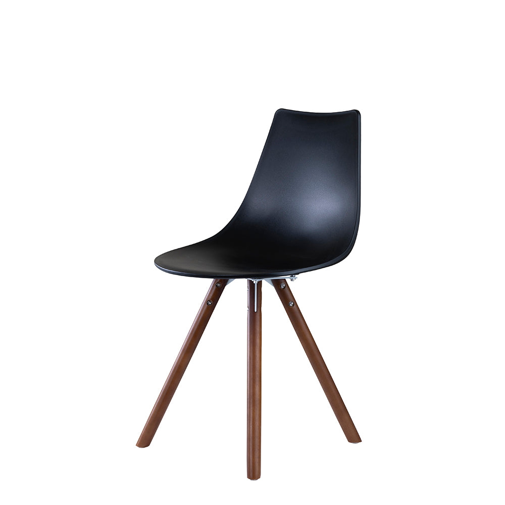 Set of 2 Valise York Side Chair in Obsidian Black with English Walnut Legs