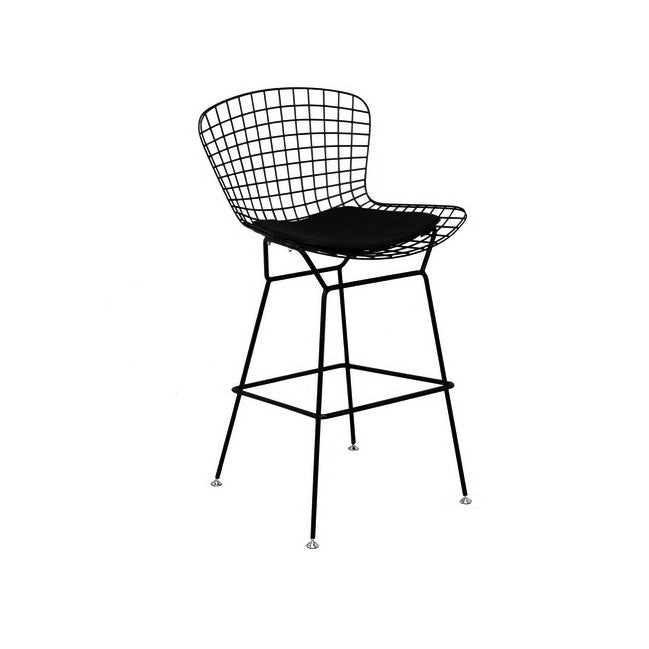 Set of 2 Replica Bertoia Barstool 65CM Matte Black with Black Cushion