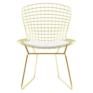 Set of 4 Replica Bertoia Dining Chair Gold with White Cushion