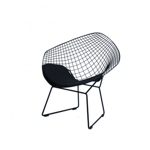 Replica Bertoia Diamond Chair Matte Black with Black Cushion