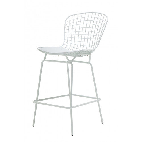 Set of 2 Replica Bertoia Barstool 65CM White with White Cushion