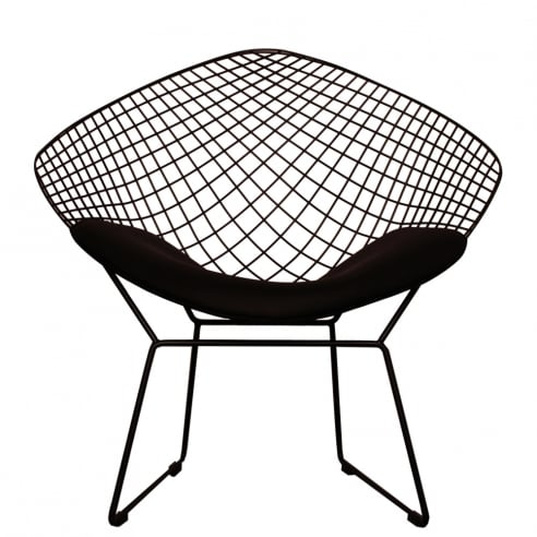 Set of 2 Replica Bertoia Diamond Chair Matte Black with Black Cushion