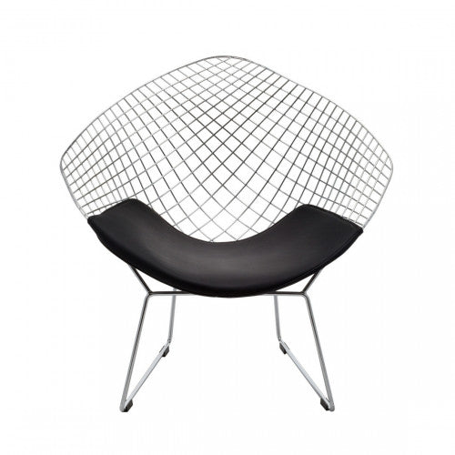 Replica Bertoia Diamond Chair Chrome with Black Cushion