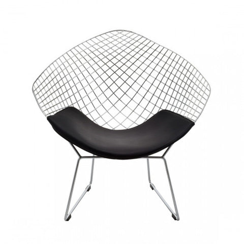 Replica Bertoia Diamond Chair Chrome with White Cushion