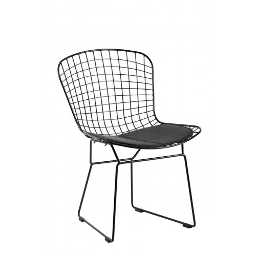Set of 4 Replica Bertoia Dining Chair Matte Black with Black Cushion