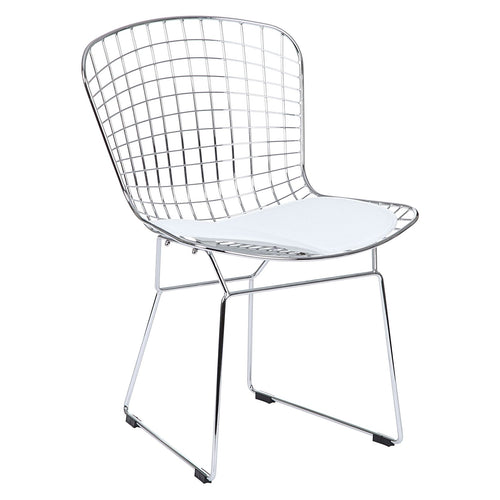 Set of 4 Replica Bertoia Dining Chair Chrome with White Cushion