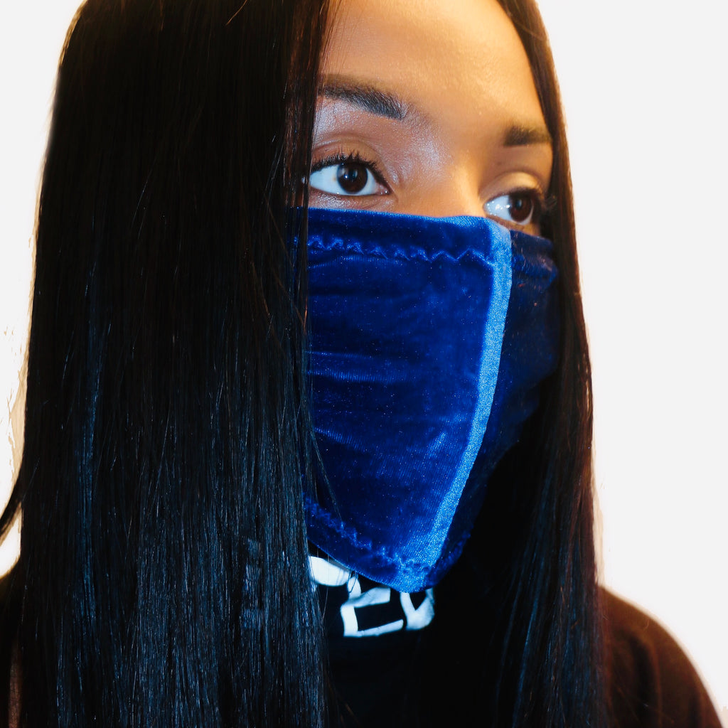 Navy Velour Face Mask