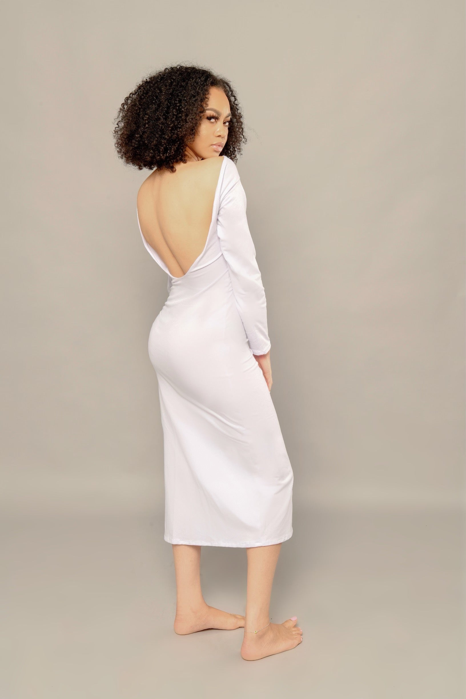 RETELL REFLECTIVE LOGO MAXI DRESS - WHITE